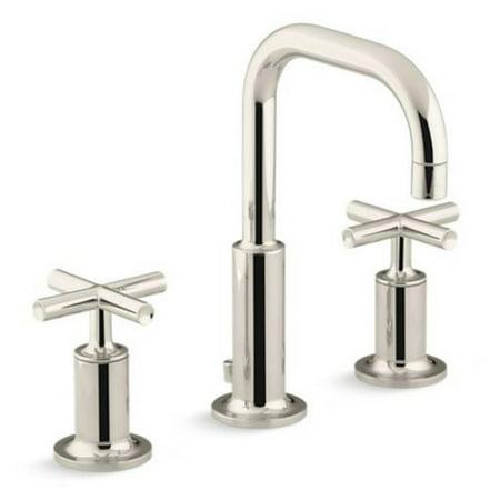Kohler Purist Widespread Bathroom Sink Faucet with Low Cross Handles and Gooseneck Spout