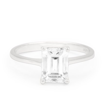 .33 Carat Emerald Cut Real Diamond Solitaire Engagement Ring in 10k White Gold Crown Emerald Ring