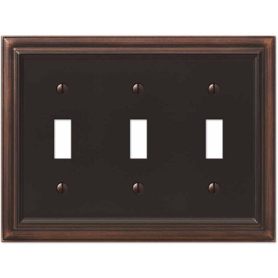 Continental Aged Bronze Cast Triple Toggle Wallplate