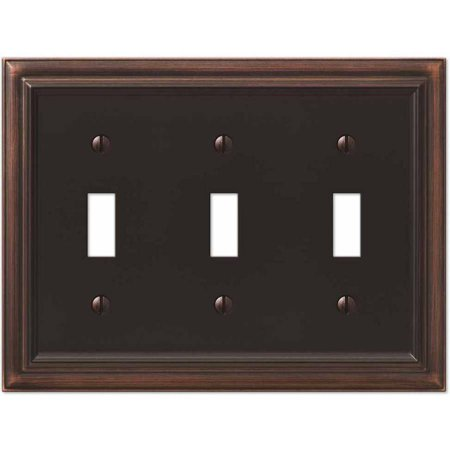 Continental Aged Bronze Cast Triple Toggle Wallplate - Hamilton Bronze Dimmer