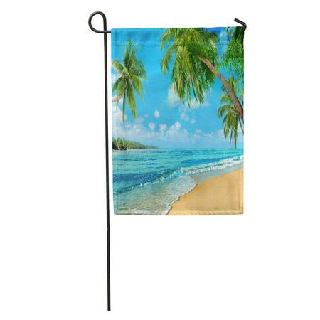 SIDONKU Ocean Beach Oceanfront Sea Palm Sand Cloud Coast Foam Island Garden Flag Decorative Flag House Banner 12x18 inch