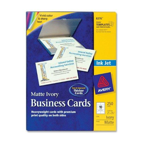 "Avery Business Card - A8 - 2"" X 3.50"" - Matte - 250 / Pack - Ivory (8376)"
