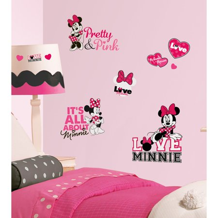 Mickey & Friends - Minnie Loves Pink Peel & Stick Wall Decals](Minnie Mouse Wall Decor)