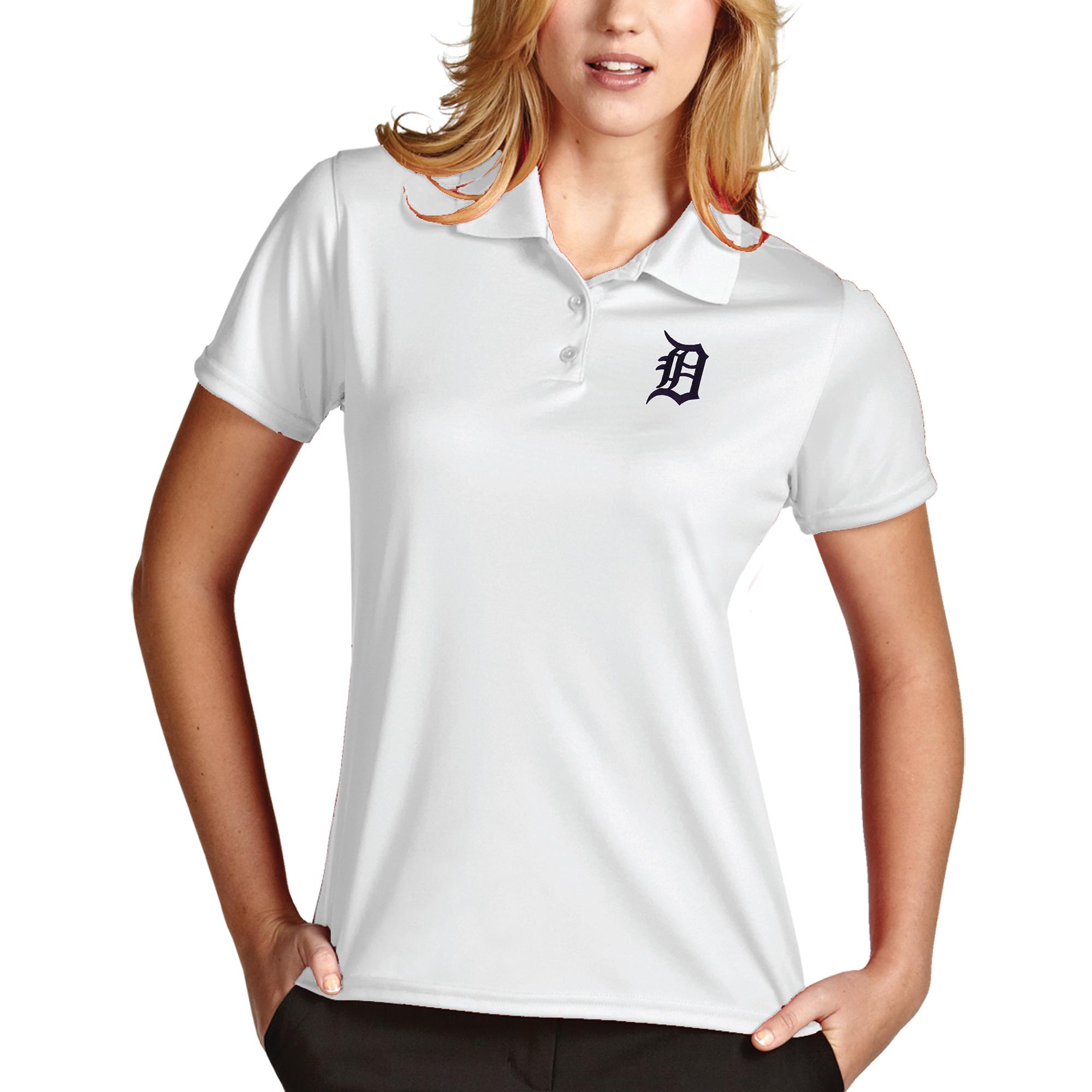 Detroit Tigers Antigua Women's Desert Dry Xtra-Lite Exceed Polo - White