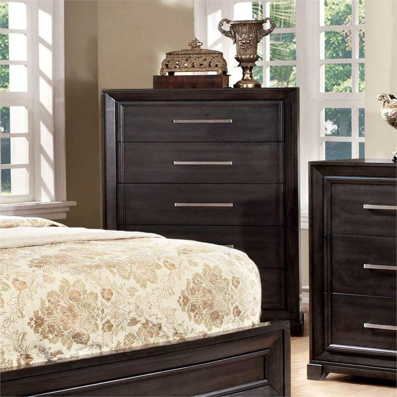 Furniture of America Remall Rustic Chest in Black and Oak