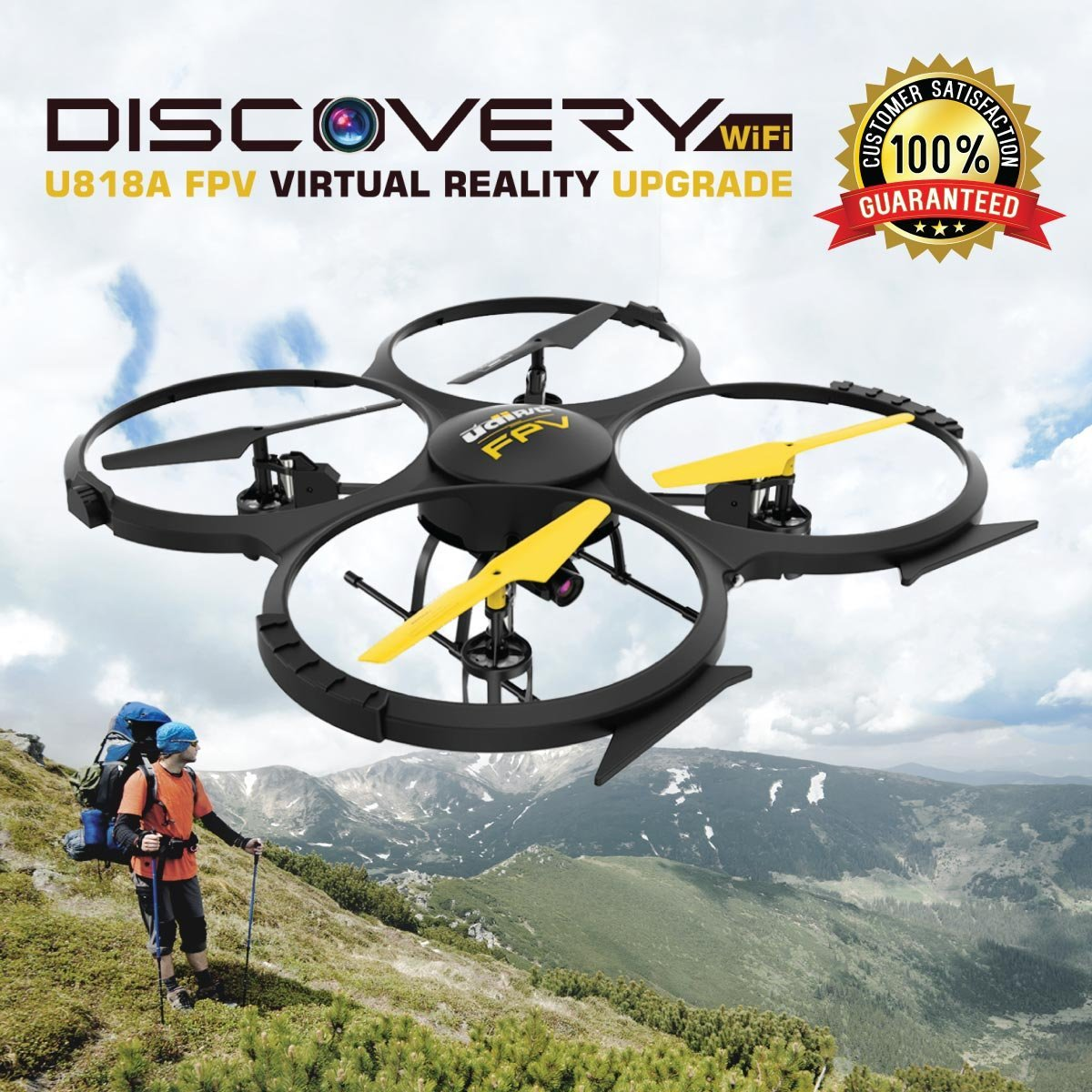 U818A Wifi FPV Drone with Altitude Hold, HD Camera Live Video, Remote Control and VR Headset, Power Bank.