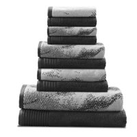 Product Image SUPERIOR MARBLE EFFECT 10 PC COTTON TOWEL SET BLACK Two Bath Towels 30x54 Each