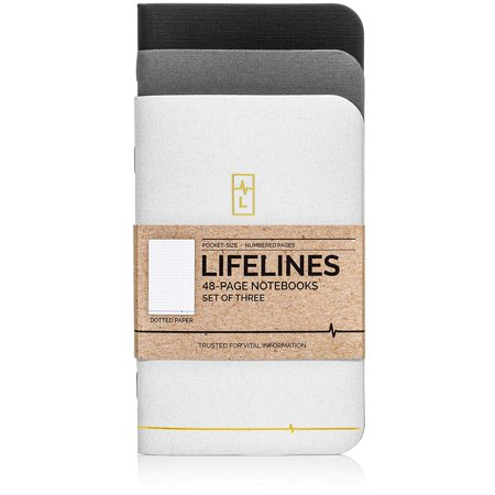 Lifelines Small Pocket Dotted Notebook Gold Line | Mini Bullet Journal for to-Do Lists, Memos, Sketches, Notes | Numbered Dot Grid Pages 3.5 x 5.5 inches (Pack of 3) - Mini Notebooks