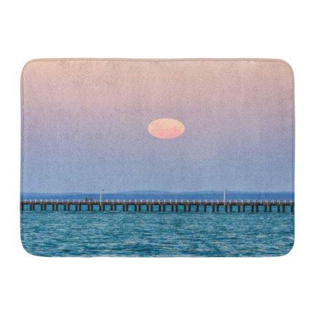 GODPOK Bay Pink Full Moonrise of The Super Blue Blood Moon First Since 1860'S Over Urangan Pier Hervey Landscape Rug Doormat Bath Mat 23.6x15.7 inch First Quality Ib Full Mat