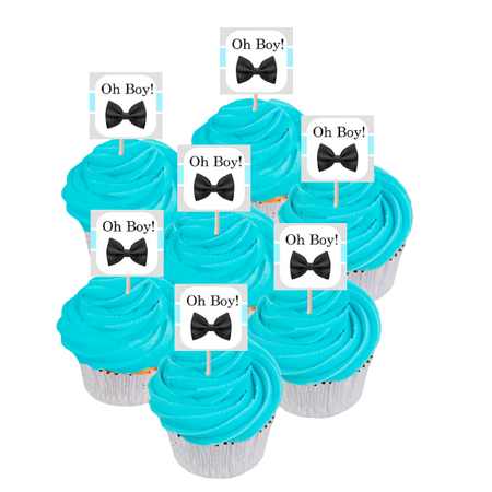 Oh Boy Baby Shower / 1st Birthday Cupcake Decoration Toppers -12pack (Baby Boy Birthday Decorations)