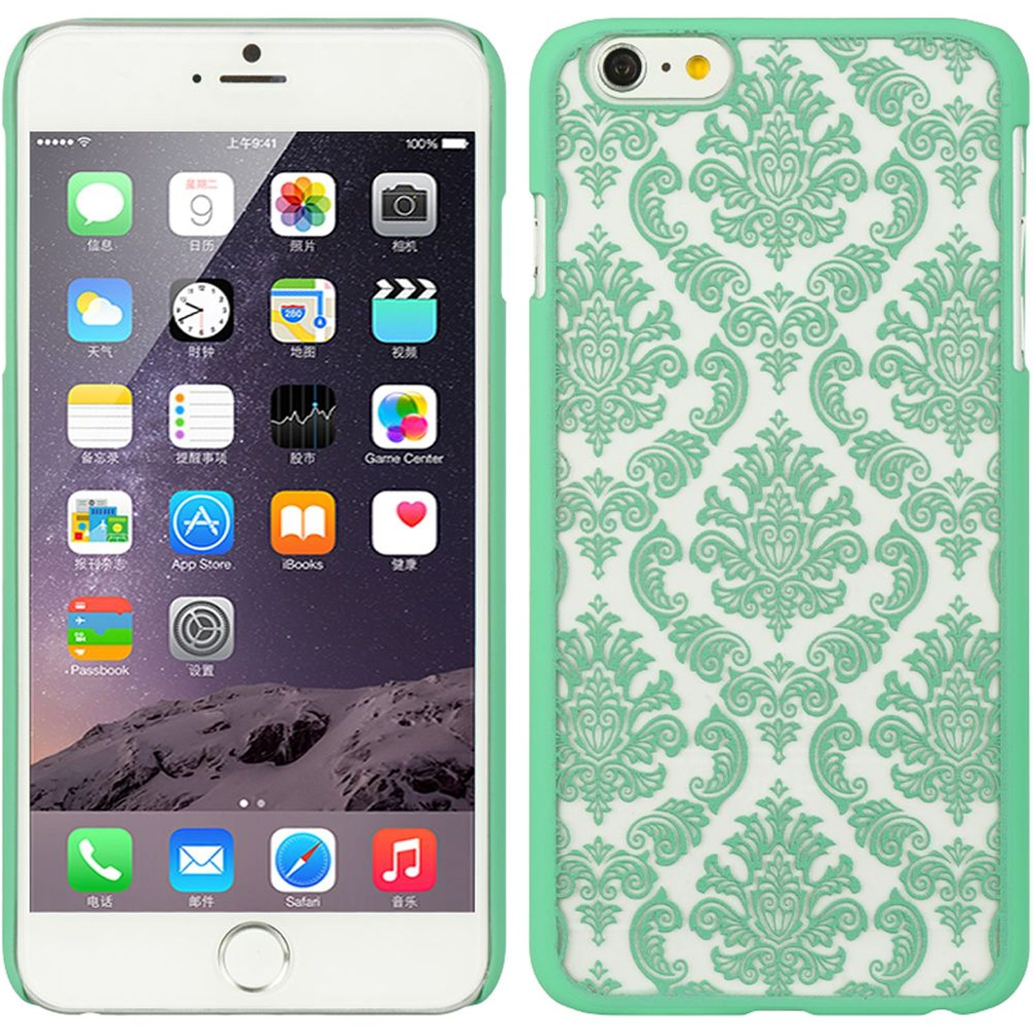 iPhone 6s plus case by Insten Hard Rubber Coated Case for Apple iPhone 6s Plus / 6 Plus - Green/White