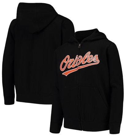 Baltimore Orioles Youth Team Color Wordmark Full-Zip Hoodie - Black Baltimore Orioles Mens Hooded Sweatshirt