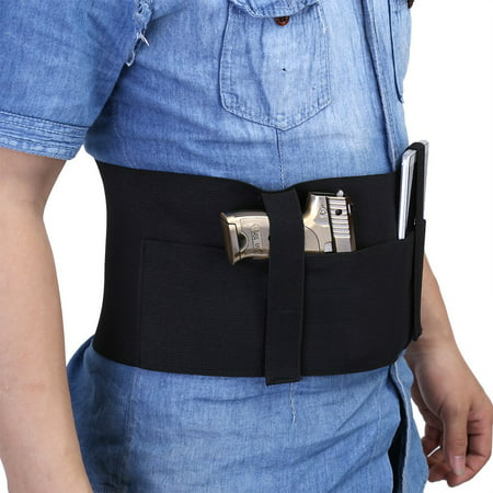 WALFRONT Black Elastic  Right/Left Draw Belly Band Concealed Carry Pistol Holster,Belly Band Holster, Concealed