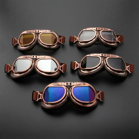 Motorcycle Goggles Glasses Vintage Motocross Retro Aviator Pilot Cruiser ATV UV Protection Goggles - image 6 of 7