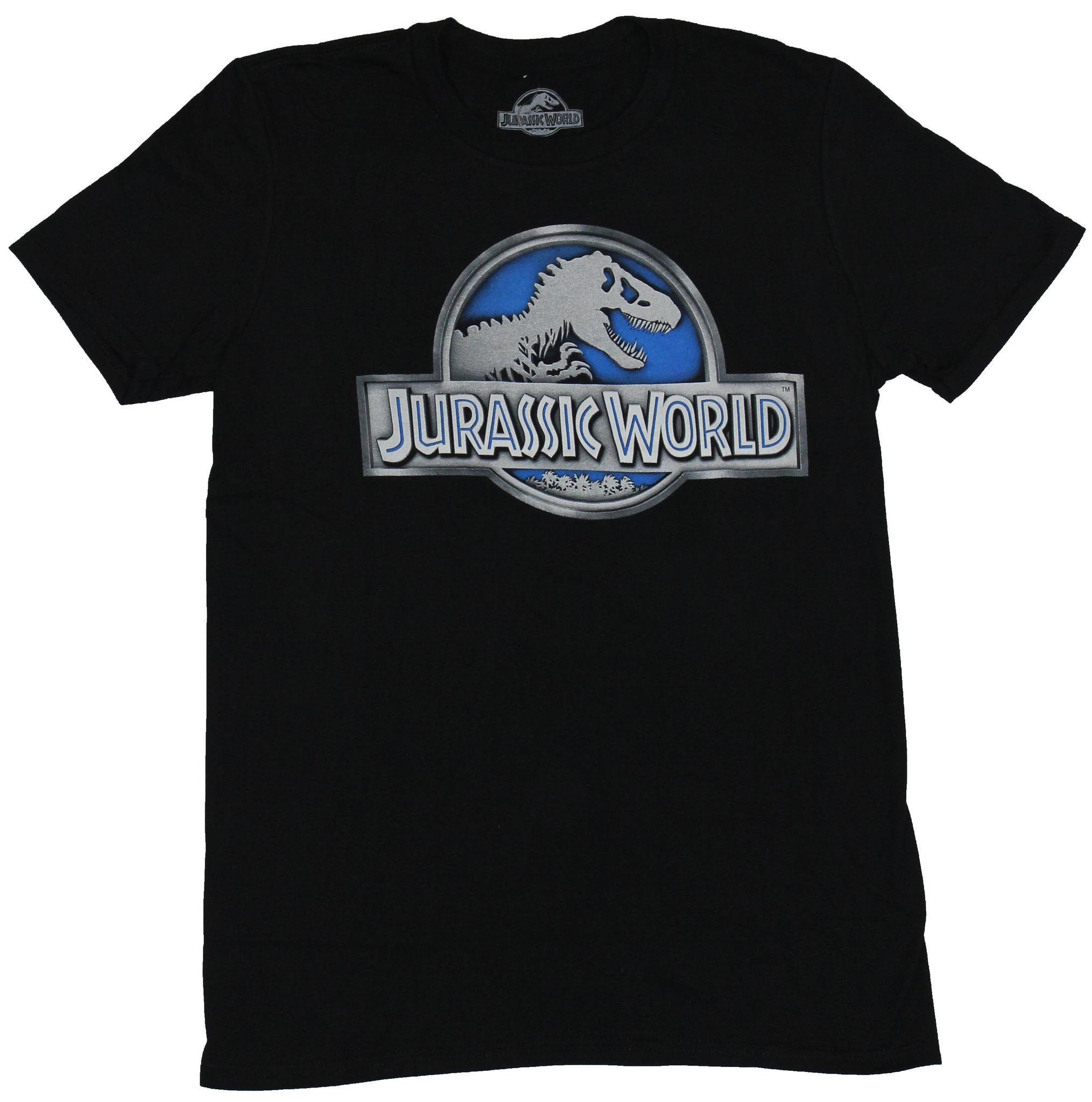 Jurassic World Mens T-Shirt - Silver White Blue Park Logo Image
