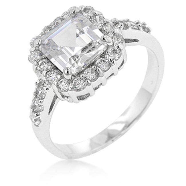 Kate Bissett R07954R-C01-05 White Gold Rhodium Anniversary Style CZ Showcase Ring featuring Princess Cut Center CZ with