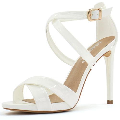 Allegra K Women's Crisscross Strappy High Heel Ankle Strap Sandals White Size 6