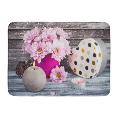 - GODPOK Purple Autumn Pink Chrysanthemum in Concrete Pot with Box Lit Candles Vintage Shutters on Concept White Rug Doormat Bath Mat 23.6x15.7 inch