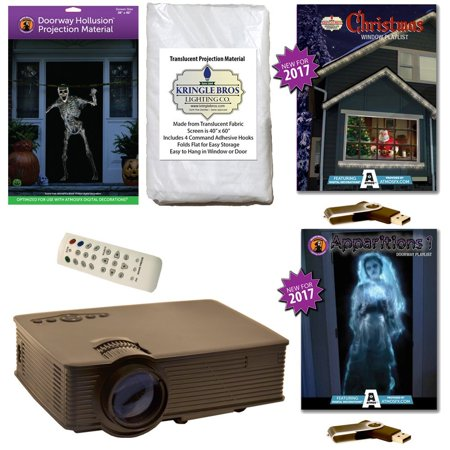 AtmosFearFx Christmas & Halloween Digital Decoration Kit includes 800 x 480 Projector, Hollusion (D) + Kringle Bros Projection Screens, Christmas & Apparitions 1 Compilation Videos on USB. - Atmosfearfx Ghostly Apparitions Halloween Projection Digital Decorations