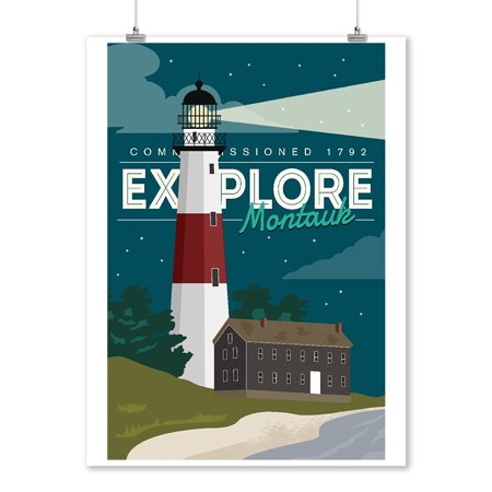 Explore Montauk Long Island - Go Explore (Lighthouse) - Lantern Press Artwork (9x12 Art Print, Wall Decor Travel Poster) (Long Beach Island Lighthouse)