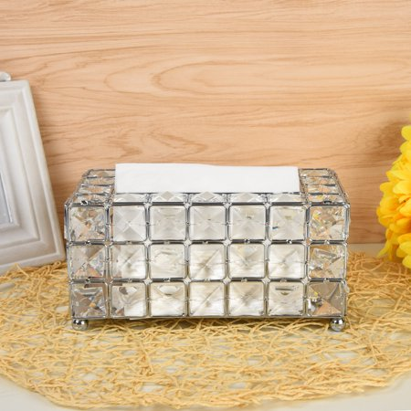 Outtop Handmade Square Crystal Tissue Box Tray 200pc Paper Towel Storage Silver (Bathroom Paper Towel Tray)