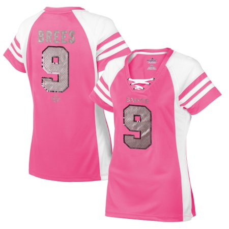 wholesale dealer 91c09 084f9 Drew Brees New Orleans Saints Majestic Women's Draft Him IV T-Shirt - Pink  - S