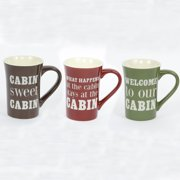 DEI Woodland River 3 Piece Stoneware Cabin Sayings Mug Set