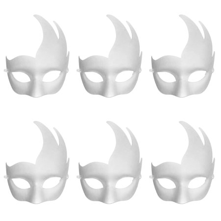 Aspire 6 PCS Blank DIY Masks Craft Paper Halloween Masquerade Face Mask Decorating Party Costume](Halloween Paper Mask Ideas)