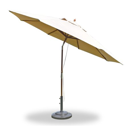 Large 11 Feet Round Wooden Sunbrella Fabric in Any Color Outdoor Market Umbrella with Tilt & Pulley System - choose any Sunbrella Fabric #WMAXUMa