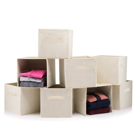 Sagler (8 PACK) Foldable storage boxes - Cube Basket storage bins - Beige collapsible - Art Boxes
