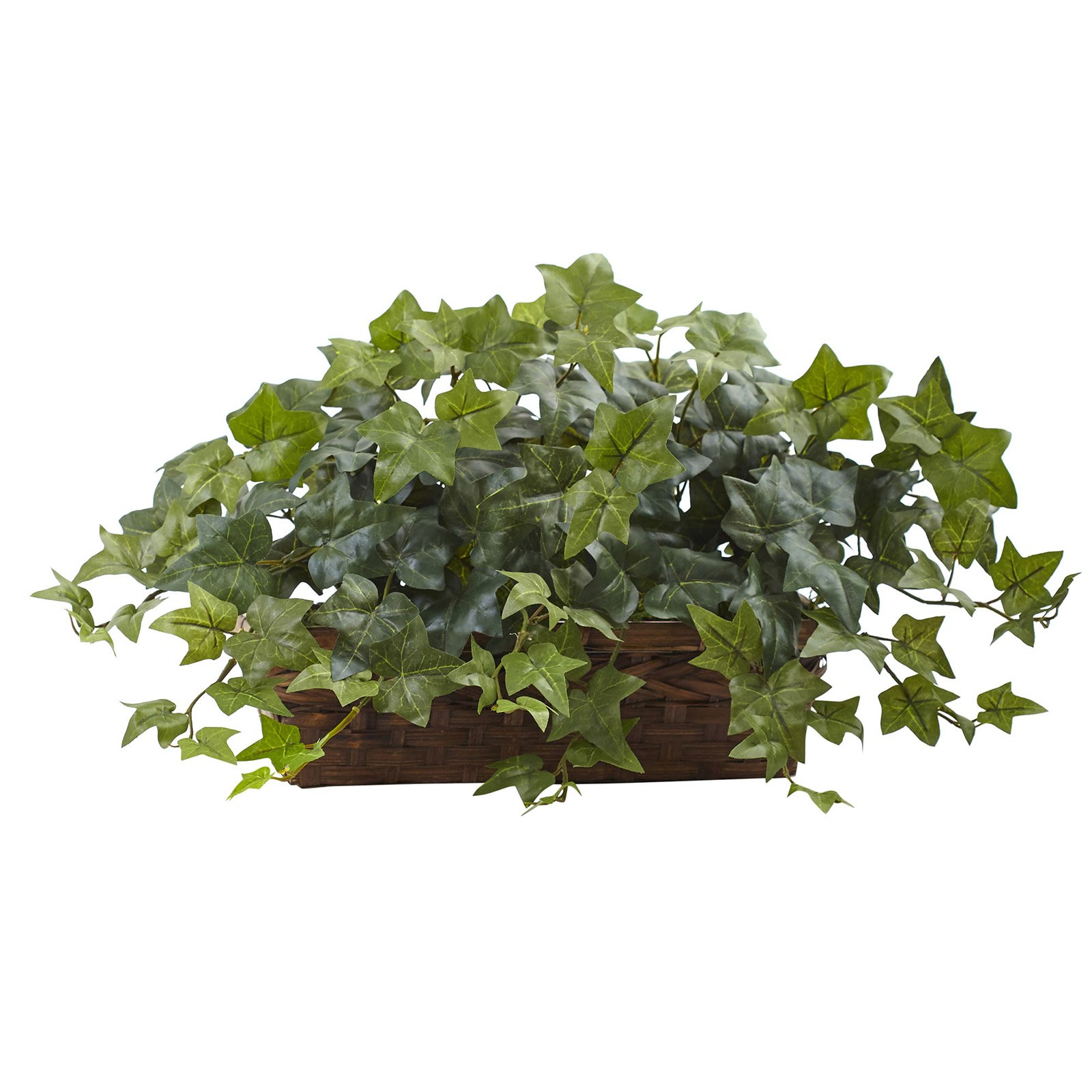 Nearly Natural Puff Ivy Silk Plant with Ledge Basket