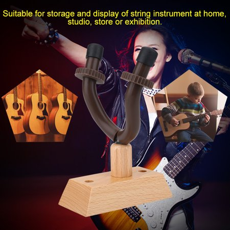 Greensen Durable Wooden Base Guitar Hanger Wall Mount Hook