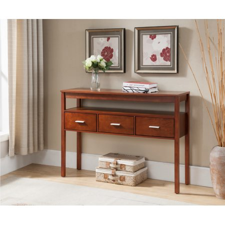 Walnut 3 Piece Sofa - Oliver Walnut Wood Contemporary Occasional Entryway Console Sofa Table With 3 Storage Drawers