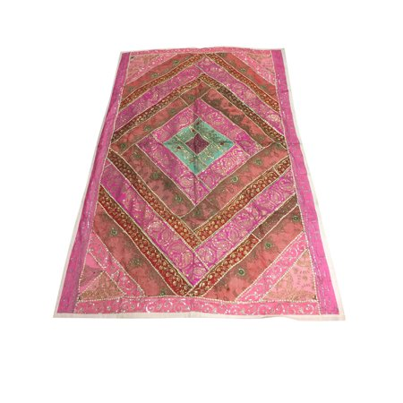 Mogul Indian Sari Wall Tapestry Handmade Pink Patchwork Sequin Work Ethnic Wall Hanging 90x60 Sequin Sari Tapestry