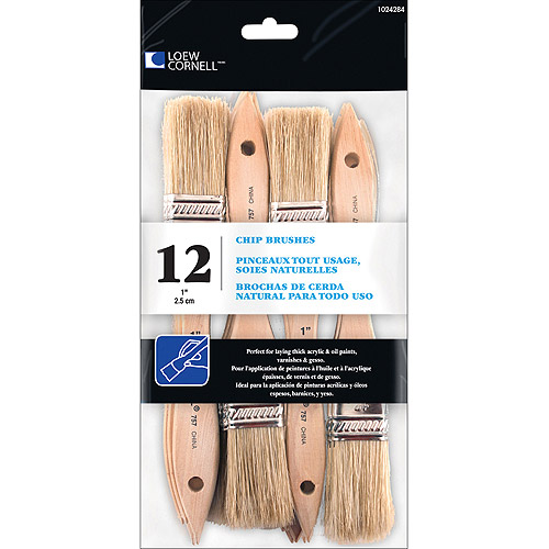 "Loew-Cornell Chip Brushes, 12-Pack, 1"" Wide"