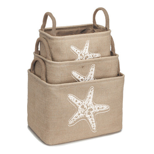 Occasionally Made Coastal Home 3 Piece Burlap Storage Bin Set with Starfish Design