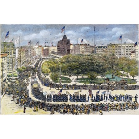 Labor Day Parade 1882 Nthe First Labor Day Parade Held At Union Square New York City By Knights Of Labor On September 5 1882 Engraving From A Contemporary American Newspaper Rolled Canvas Art     24 X