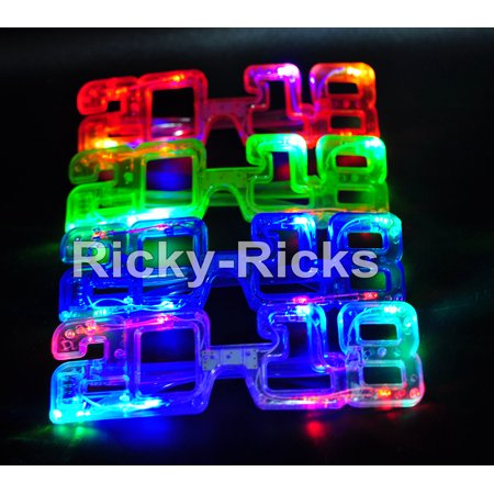 (12 Pack) Light Up New Years Glasses Eve Party LED Supplies 2018 Glowing Happy NYE Supplies Lentes