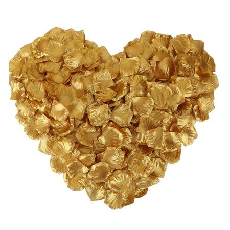 1000 Pcs Artificial Silk Rose Petals for Wedding Decoration, Gold