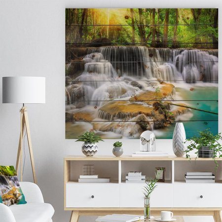 DESIGN ART Designart 'Kanchanaburi Province Waterfall' Photography Print on Natural Pine Wood - Green