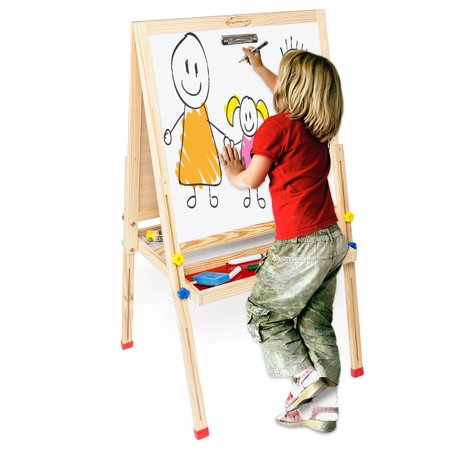 Ktaxon 3 in 1 Kids Easel, Double-Sided Whiteboard & Chalkboard Standing Easel, Collapsible Paper Roll, with Drawing Accessories, for Kids and