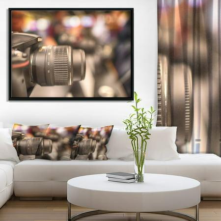 DESIGN ART Designart 'Modern Camera in City Electronics Shop' Contemporary Framed Canvas Art