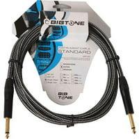Bibtone BG2-25 Standard Fabric Guitar Cable,7.6 m - 25 ft. Black & White