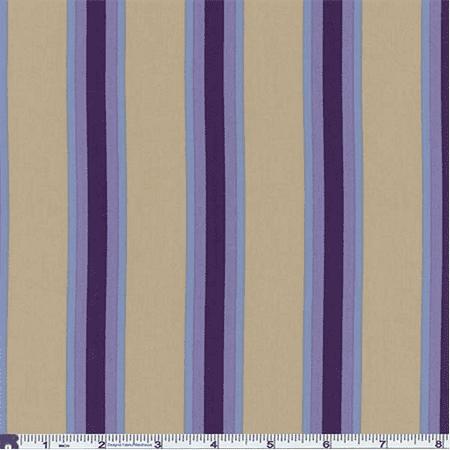 Khaki/Purple Bungalow Stripe Decor Cotton Twill, Fabric By the Yard - Heavyweight Brushed Twill Fabric