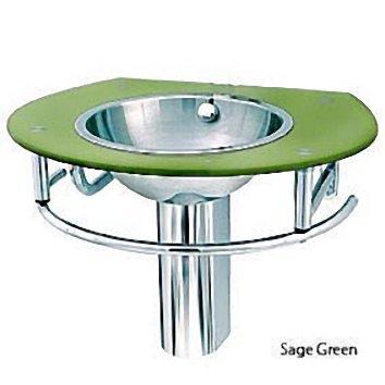 Decolav Sage Green Glass Vanity Lavatory Sink Stainless