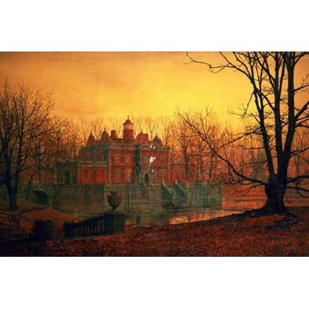 Haunted Paintings (The Haunted House Country Home at Sunset Landscape Painting Print Wall Art By John Atkinson)