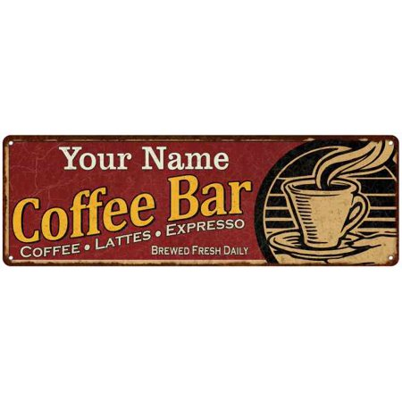 Name Coffee - Your Name Coffee Bar Red Chic Sign Home Kitchen Décor Gift 6x18 G6180006000