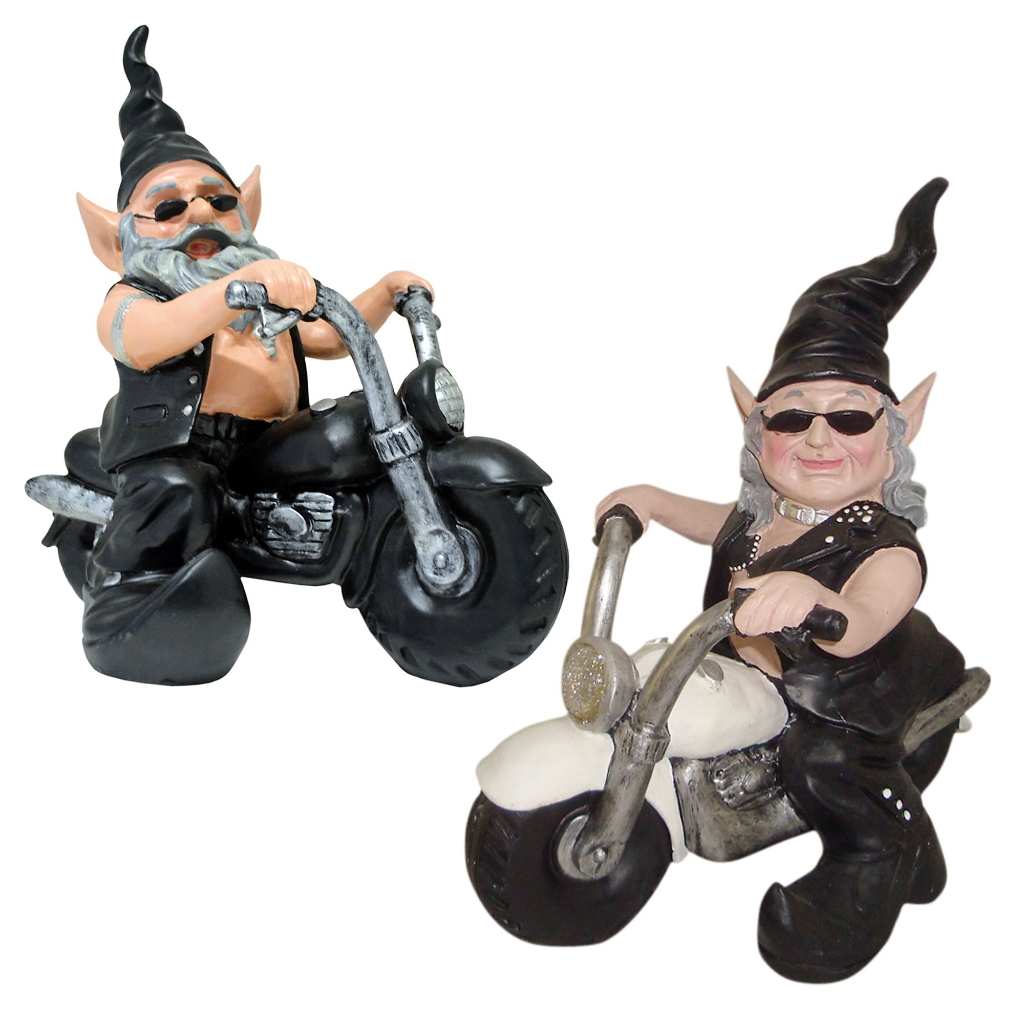 """Nowaday Gnomes """"Biker Dude & Babe"""" the Biker Gnomes in Leather Motorcycle Gear Riding Black and... by GSI Homestyles"""