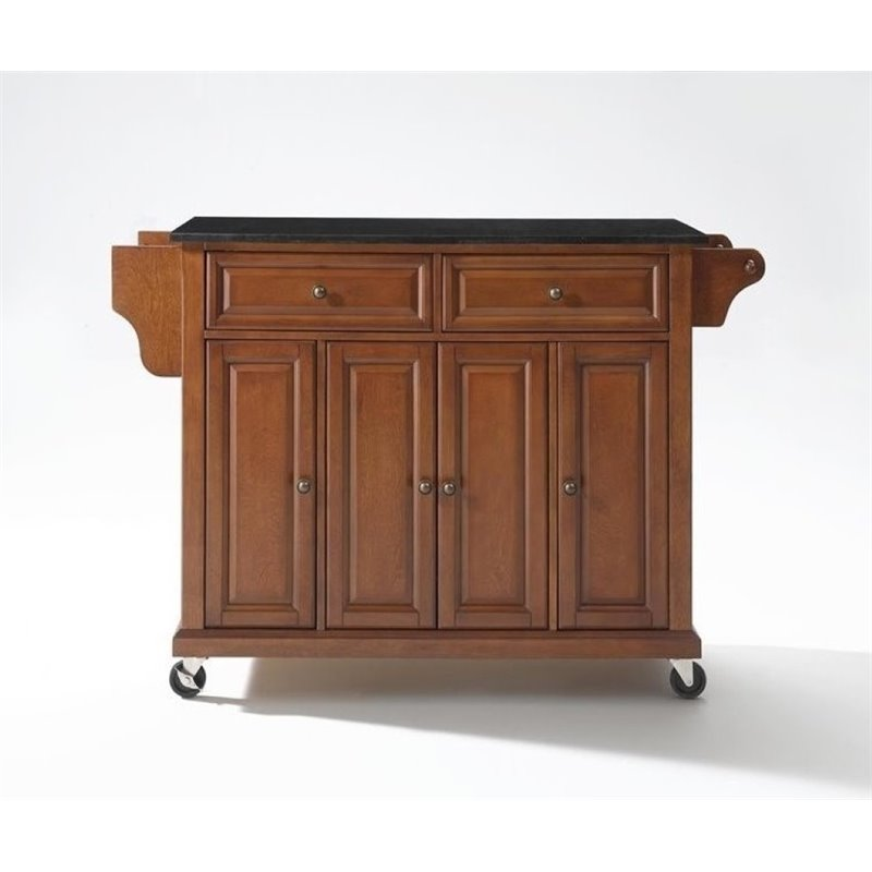 Bowery Hill Solid Black Granite Top Kitchen Cart in Class...