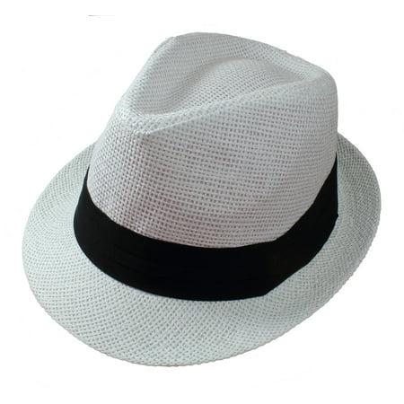 Gelante Summer Fedora Panama Straw Hats With Black Band - White 4c01f52e07d